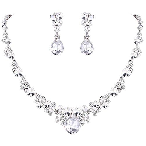 EVER FAITH Rhinestone Crystal Bridal Floral Teardrop Necklace Earrings Set Clear Silver-Tone