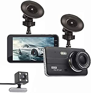 Dual Dash Camera for Cars, Dash Cam 1080P FHD 4 inch IPS Screen Metal Shell Dash Camera Recorder with 170° Wide Angle, G-Sensor, Parking Monitor, Loop Recording, WDR, Motion Detection
