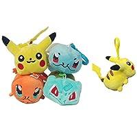 Pokemon Pikachu, Bulbasaur, Squirtle, Charmander, Set of 4 Plush Backpack Clips 3.5