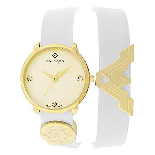 Nanette Lepore Wonder Woman Double Wrap Watch – Smooth Brown Genuine Leather Strap – Swiss Analog Movement