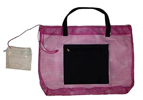 Amazon.com | Mesh Beach Bag Tote with Zipper Pocket (Magenta ...