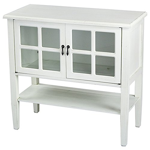 White Tv Chest (Heather Ann Creations Modern 2 Door Accent Console Cabinet with 4 Pane Glass Insert and Bottom Shelf Antique White)