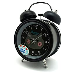 HAND H0639 Silent Sweep Metal Twin Bell Kids Alarm Clock with Boo! Boo! Cat Design Size 4.5 x 3 Black