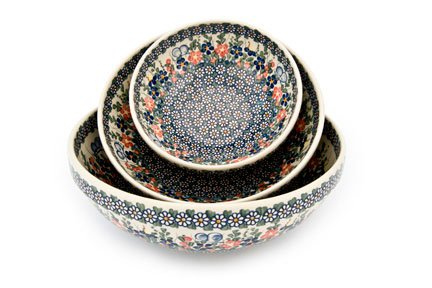 3 Piece Pottery Roses - Blue Rose Polish Pottery Garden Butterfly 3 Piece Serving Bowl Set