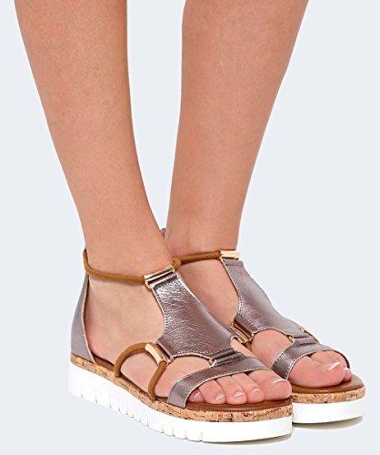 Inuovo Mujeres sandalias de Gladiador de cuero Pewter Pewter