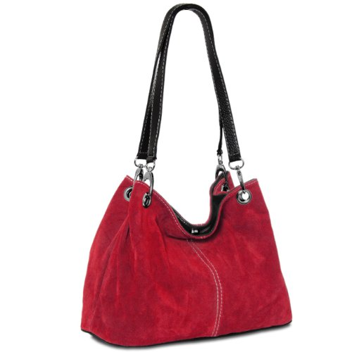 CASPAR TL621 Bolso de Mano para Mujer de Cuero Genuino Italiano rojo oscuro