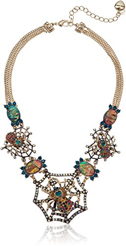 Betsey Johnson Halloween Gold and Hematite Spider Web Frontal Necklace