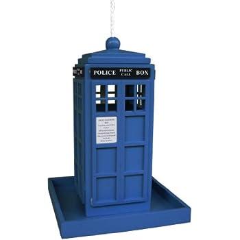 Home Bazaar British Inspired Police Call Box Feeder, Royal Blue