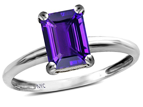 - Star K Classic Octagon Emerald Cut 8x6mm Genuine Amethyst Solitaire Engagement Promise Ring 10k White Gold Size 5