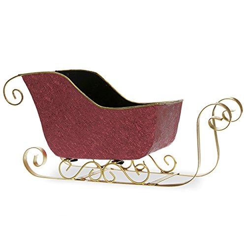 The Lucky Clover Trading Red and Gold Foil Sleigh Basket - Small 9 in