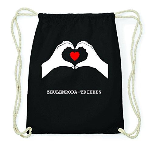JOllify ZEULENRODA-TRIEBES Hipster Turnbeutel Tasche Rucksack aus Baumwolle - Farbe: schwarz Design: Hände Herz