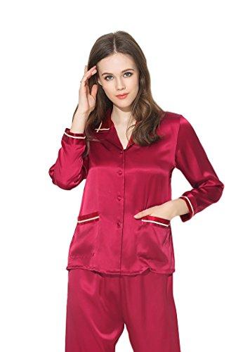 Women's Sleep Sets Pure Silk Nightwear Summer Nightclothes Burgundy S by Colorful Silk