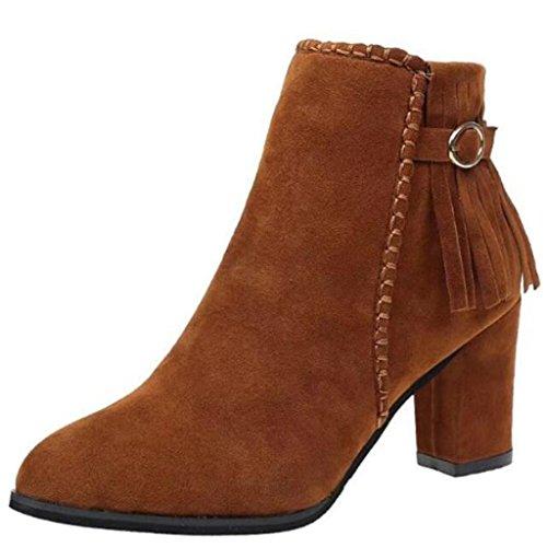 Binying Women's Pointed-Toe Block Heel Zip Tassel Ankle Boots Brown iUScS