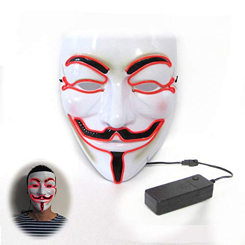Cosplay Glowing LED Halloween Masks (red-21179CM/power Switch Button) -
