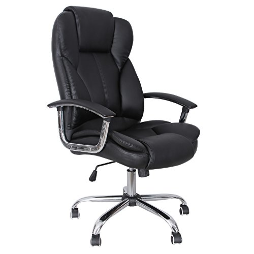 SONGMICS Big & Tall Office Chair with Thick Seat and Tilt Function Ergonomic Executive Chair PU Leather Black (Dorm Desk Chairs)