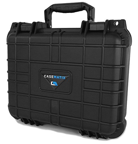 CASEMATIX Waterproof Customizable Projector Carry Case for TENKER Q5 Projector 1500 LUX LCD , Remote Control , Cables and Compact Accessories by CASEMATIX