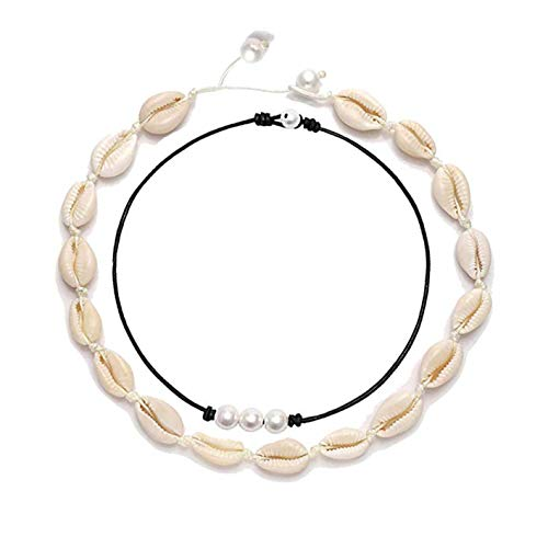 Micyon Sea Shell Necklace and Anklet Bracelet Boho Natural Cowrie Choker Necklace Adjustable Summer Beach Jewelry
