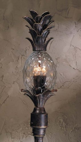 Triarch International 75105-11 Maui Collection 3-Light Exterior Post Mount Fixture, English Bronze with Clear Hand-Crafted Pineapple Glass