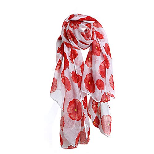Lujuny Spring Fall Fashion Lightweight Print Flower Voile Scarf for Women Girls (White)