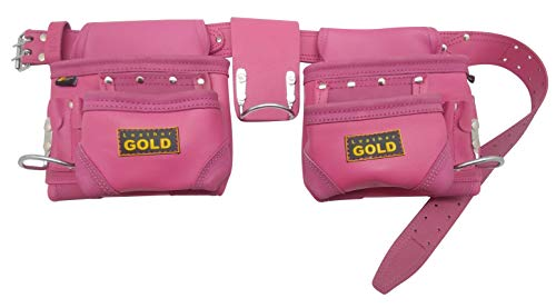 Leather Gold Tool Belt for Women | Womens Pink Tool Belt 3450 | Natural Leather | The 10 Pouches and 3 Hammer Holders are Easily Adjustable | Professional Grade | ()