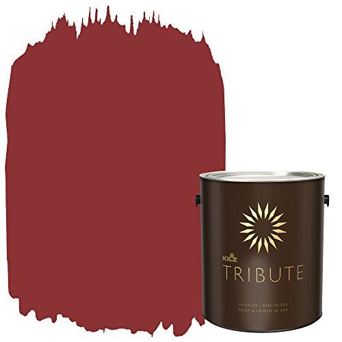 (KILZ TRIBUTE Interior Semi-Gloss Paint and Primer in One, 1 Gallon, Haute Red (TB-97))