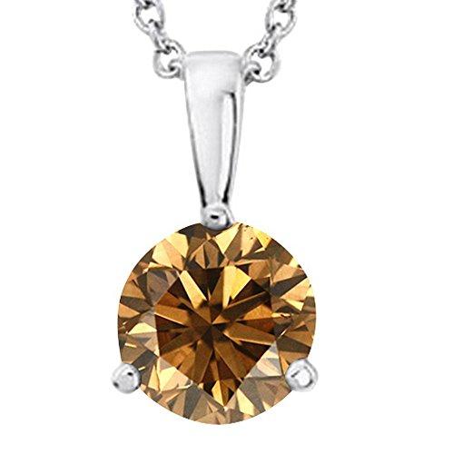 5 Ct Round Diamond (5 Carat Platinum Round Brown Diamond 3 Prong Solitaire Pendant Necklace (AAA Quality) W/ 16