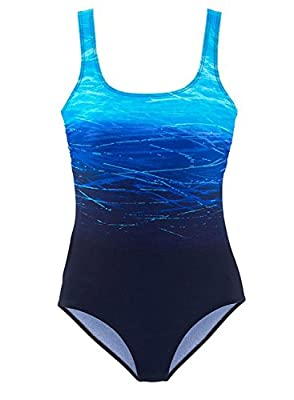 HOTAPEI Women's Athletic Training Gradient Criss Cross Back One Piece Swimsuit Swimwear Bathing Suit