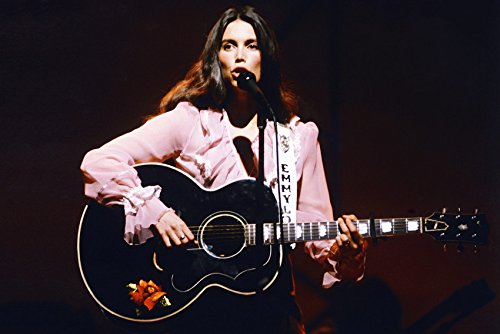 Emmylou Harris Classic 1970's With Guitar on stage 18x24 Poster