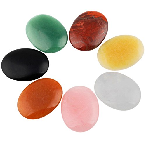 Oval Glass Stone (rockcloud Oval Worry Stones,Palm Pocket Stone,Healing Crystal Chakra Therapy Geometry,Assorted Stones,Pack of 7)