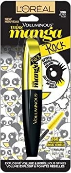 L oreal Paris Voluminous Miss Manga Rock Mascara, 388 Black Pack of 2