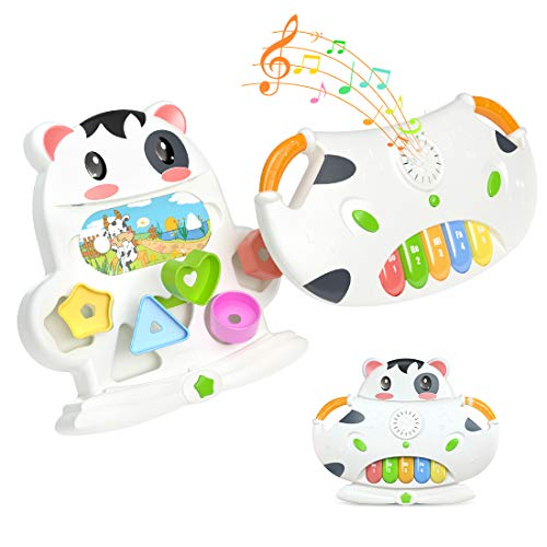 TUMAMA Baby Musical Toys,2 in 1 Baby Electronic Cow Musical Piano and Activity Cube Toys,Early Educational Development Toys for Baby Infant Toddler Kids