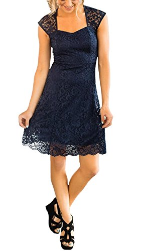 Heypen Women's Country Bridesmaid Dress Cap Sleeve Maid of Honor Lace Dresses Navy Blue