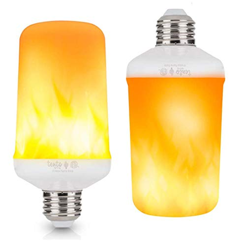 LED Flame Bulbs One Mode Flame Upside Down Pack of 2, Halloween Lighting Flickering Light Bulbs Gravity Fire Light Effect Always Flame Lantern Indoor Outdoor E26 Decorations Lamps