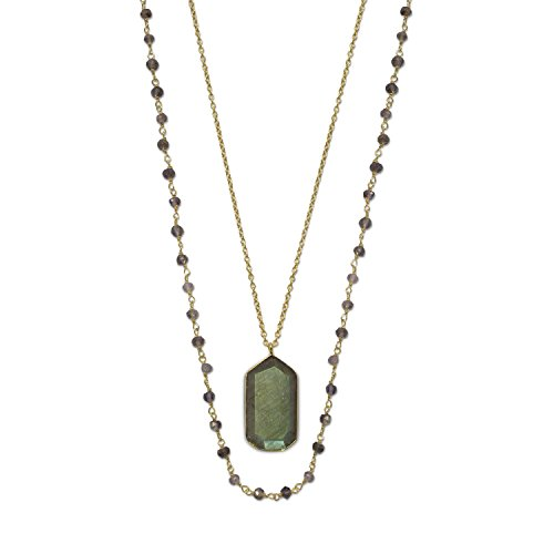 - Bunnyberry 14 Karat Gold Plated Double Strand Iolite and Labradorite Necklace