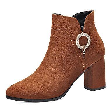 RTRY Zapatos De Mujer Moda Otoño Invierno Fur Bootie Botas Botas Botas De Combate Chunky Talón Botines/Botines Por Parte &Amp; Traje De Noche Brown US5 / EU35 / UK3 / CN34