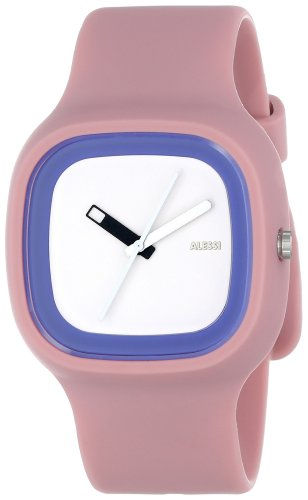 Alessi Kaj Watch (Alessi Men's AL10023 Kaj Polyurethane Pink Dial White and Blue Designed by Karim Rashid Watch )