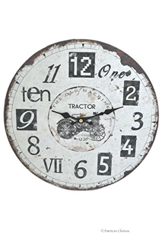Large Wood Vintage-Style Farm Tractor Distressed Wall Clock