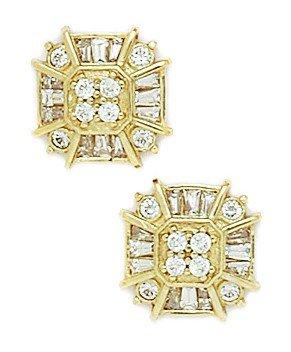 14k Yellow Gold CZ Big Princess Baguette Cut Fancy Post Earrings - Measures 12x12mm - JewelryWeb