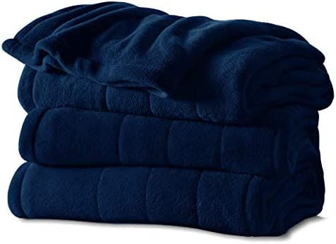 Sunbeam Channeled Soft Microplush Electric Heated Warming Blanket Full Royal Blue Washable Auto Shut Off 10 Heat Setting