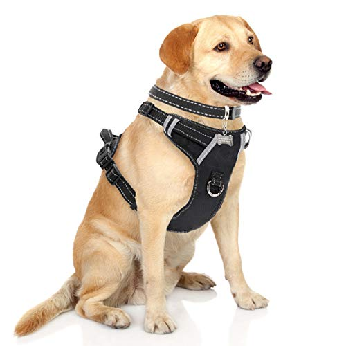 Slip Free Adjustable Collar - WINSEE Dog Harness No-Pull Pet Harness with Dog Collar & Front/Back Leash Clips Reflective Oxford Material Easy Control Adjustable Harness Black for Medium Large Dogs (Dog Collar Included)