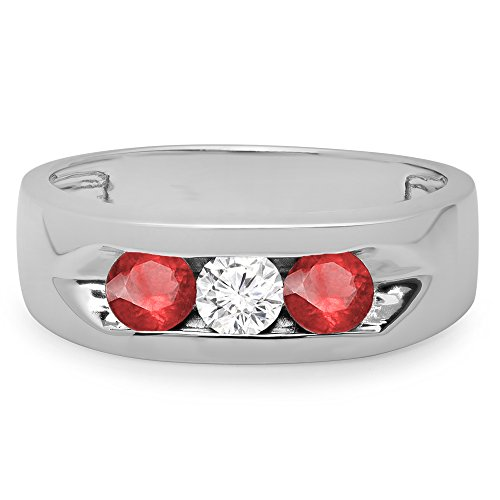 14K-Gold-Real-Round-Ruby-White-Diamond-Mens-Channel-Set-3-Stone-Anniversary-Wedding-Band