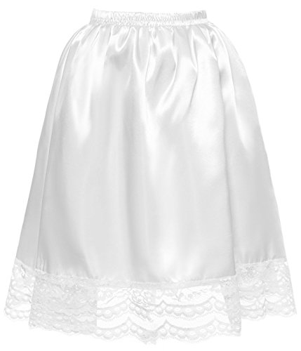 DYS Women's Satin Slip Short Petticoat Skirt Underskirt Lace Hem Many Colors White (J&l Dance Costumes)
