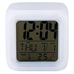 Cute 7 Led Colors Changing Digital Alarm Clock Desk Gadget Digital Alarm Thermometer Night Glowing Cube Lcd Clock^White.