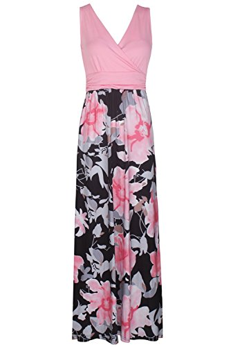 Zattcas Womens Contrast V Neck Sleeveless Empire Floral Print Maxi Long Dress (X-Large, Pink)
