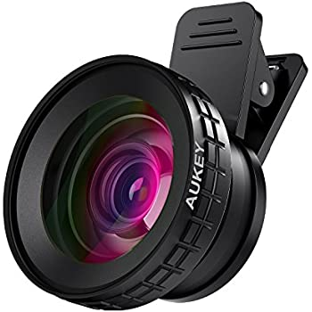 AUKEY Ora iPhone Camera Lens, 0.45 x 140° Wide-Angle + 10x Macro Clip-On iPhone Lens for iPhone 8/7/6s/6 Plus, Samsung, Other Android Smartphones
