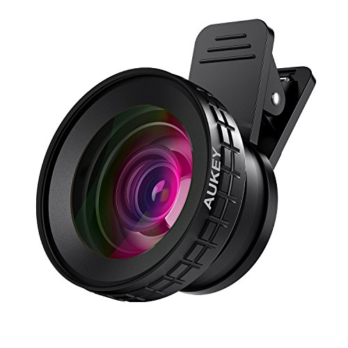 AUKEY Ora iPhone Camera Lens, 0.45x 140° Wide-Angle + 10x Macro Clip-On iPhone Lens for iPhone 8/7 / 6s / 6 Plus, Samsung, Other Android Smartphones (Smart Phone Sharp)