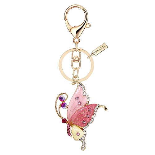 Bling Bling Crystal Pink Style Butterfly Keychain Key Ring with Pouch Bag MZ847-3