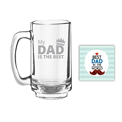 Giftsmate Father's Day Gifts My Dad Is The Best Beer Mug Playboy 357 ml, Engraved, Coaster Gift Combo of 2 ()