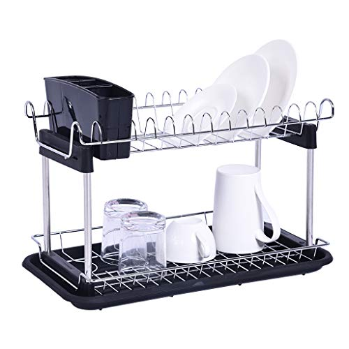 2-Tier Dish Drying Rack, Durable Stainless Steel Kitchen Collection Shelf Drainer Organizer Dish Rack with Drainboard/Cutlery Cup,Deluxe Utensil Drying Rack