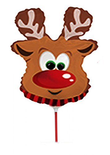 Rudolph the Reindeer 9 Inch Pre-inflated (Air Filled) Balloons Pkg/10]()